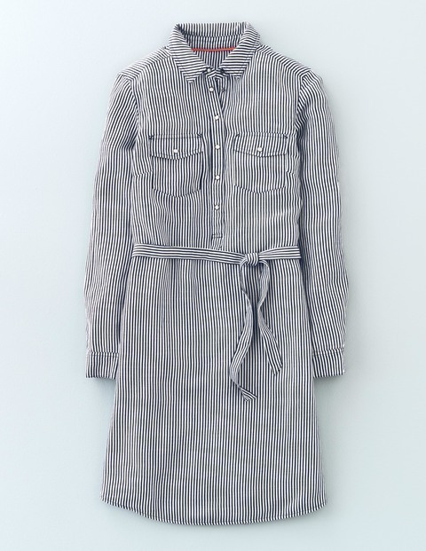 Popover Shirt Dress Ticking Stripe Women, Ticking Stripe - style: shirt; neckline: shirt collar/peter pan/zip with opening; pattern: pinstripe; waist detail: belted waist/tie at waist/drawstring; secondary colour: white; predominant colour: light grey; occasions: casual; length: just above the knee; fit: body skimming; fibres: viscose/rayon - 100%; sleeve length: long sleeve; sleeve style: standard; pattern type: fabric; texture group: woven light midweight; season: s/s 2016; wardrobe: highlight