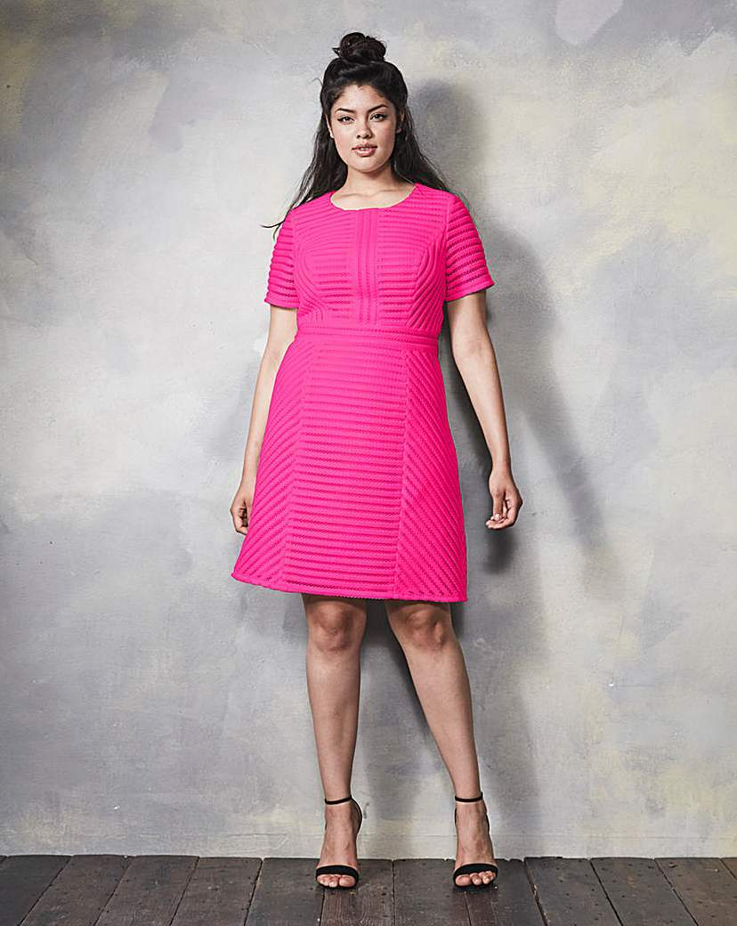 Textured Skater Dress - neckline: round neck; pattern: plain; predominant colour: hot pink; occasions: evening; length: on the knee; fit: fitted at waist & bust; style: fit & flare; fibres: polyester/polyamide - 100%; sleeve length: short sleeve; sleeve style: standard; pattern type: fabric; texture group: jersey - stretchy/drapey; season: s/s 2016; wardrobe: event