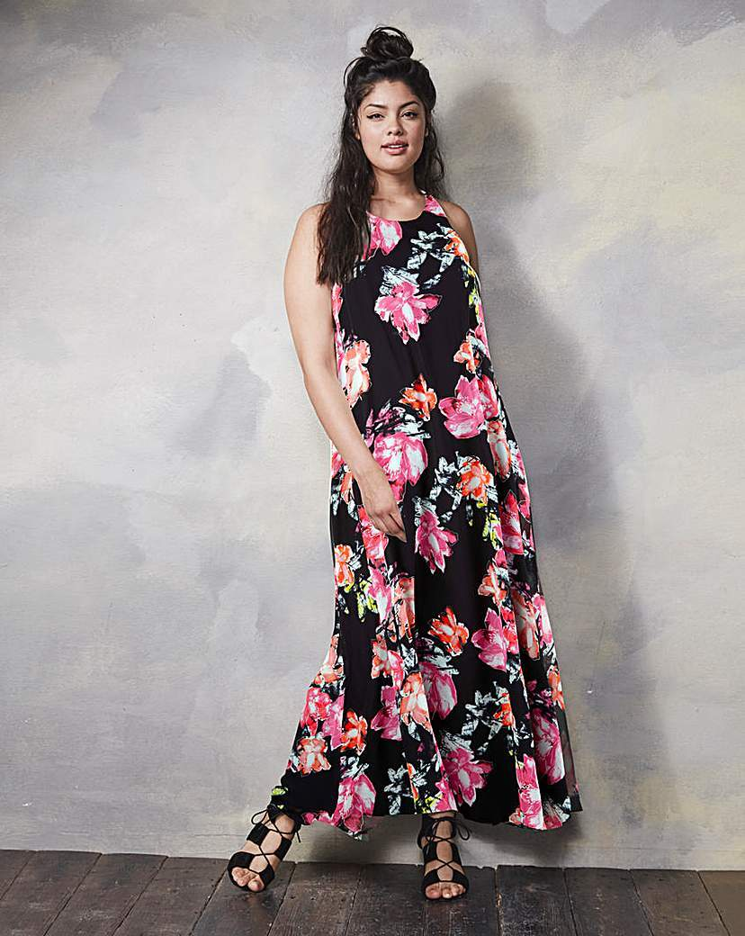 Floral Print Trapeze Maxi Dress - sleeve style: sleeveless; style: maxi dress; secondary colour: pink; predominant colour: black; occasions: evening; length: floor length; fit: body skimming; fibres: polyester/polyamide - 100%; neckline: crew; sleeve length: sleeveless; pattern type: fabric; pattern: florals; texture group: other - light to midweight; multicoloured: multicoloured; season: s/s 2016; wardrobe: event