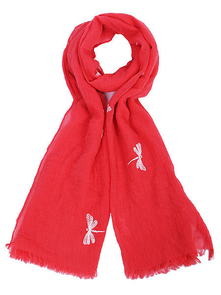 Coral Butterfly Printed Scarf - predominant colour: true red; occasions: casual; type of pattern: light; style: regular; size: standard; material: fabric; embellishment: embroidered; pattern: patterned/print; season: s/s 2016
