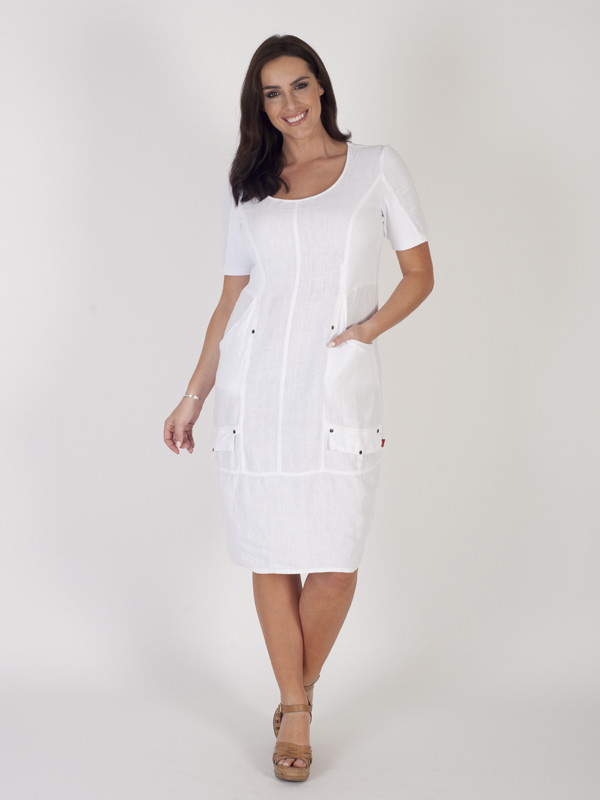 White Linen Short Sleeve Seamed Dress - style: shift; length: below the knee; pattern: plain; predominant colour: white; occasions: casual; fit: body skimming; neckline: scoop; fibres: cotton - 100%; hip detail: subtle/flattering hip detail; sleeve length: short sleeve; sleeve style: standard; texture group: cotton feel fabrics; pattern type: fabric; season: s/s 2016; wardrobe: basic