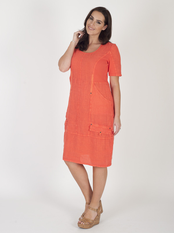 Orange Linen Short Sleeve Seamed Dress - style: shift; length: below the knee; neckline: round neck; pattern: plain; predominant colour: coral; occasions: casual; fit: body skimming; fibres: linen - 100%; sleeve length: short sleeve; sleeve style: standard; pattern type: fabric; texture group: other - light to midweight; season: s/s 2016; wardrobe: highlight