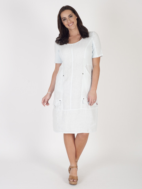 Light Blue Linen Short Sleeved Seamed Dress - style: shift; length: below the knee; neckline: round neck; pattern: plain; predominant colour: white; occasions: casual; fit: body skimming; fibres: linen - 100%; sleeve length: short sleeve; sleeve style: standard; texture group: linen; pattern type: fabric; season: s/s 2016; wardrobe: basic