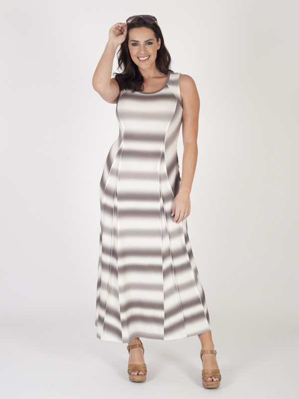 Khaki/Ivory Printed Maxi Dress - neckline: round neck; sleeve style: sleeveless; style: maxi dress; pattern: striped; length: ankle length; predominant colour: ivory/cream; secondary colour: stone; fit: fitted at waist & bust; fibres: polyester/polyamide - 100%; occasions: occasion; sleeve length: sleeveless; texture group: crepes; pattern type: fabric; pattern size: standard; season: s/s 2016; wardrobe: event