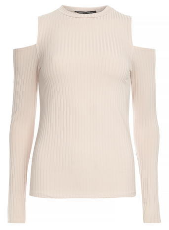 Womens Stone Ribbed Cold Shoulder Top Stone - neckline: round neck; pattern: plain; predominant colour: white; occasions: casual, creative work; length: standard; style: top; fibres: polyester/polyamide - stretch; fit: body skimming; shoulder detail: cut out shoulder; sleeve length: long sleeve; sleeve style: standard; pattern type: fabric; texture group: jersey - stretchy/drapey; season: s/s 2016; wardrobe: highlight