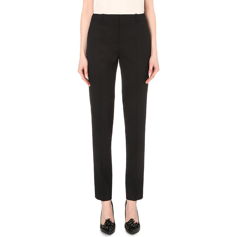 Tapered Stretch Wool Trousers, Women's, Black - length: standard; pattern: plain; waist: high rise; predominant colour: black; occasions: work; fibres: wool - stretch; fit: slim leg; pattern type: fabric; texture group: woven light midweight; style: standard; season: s/s 2016