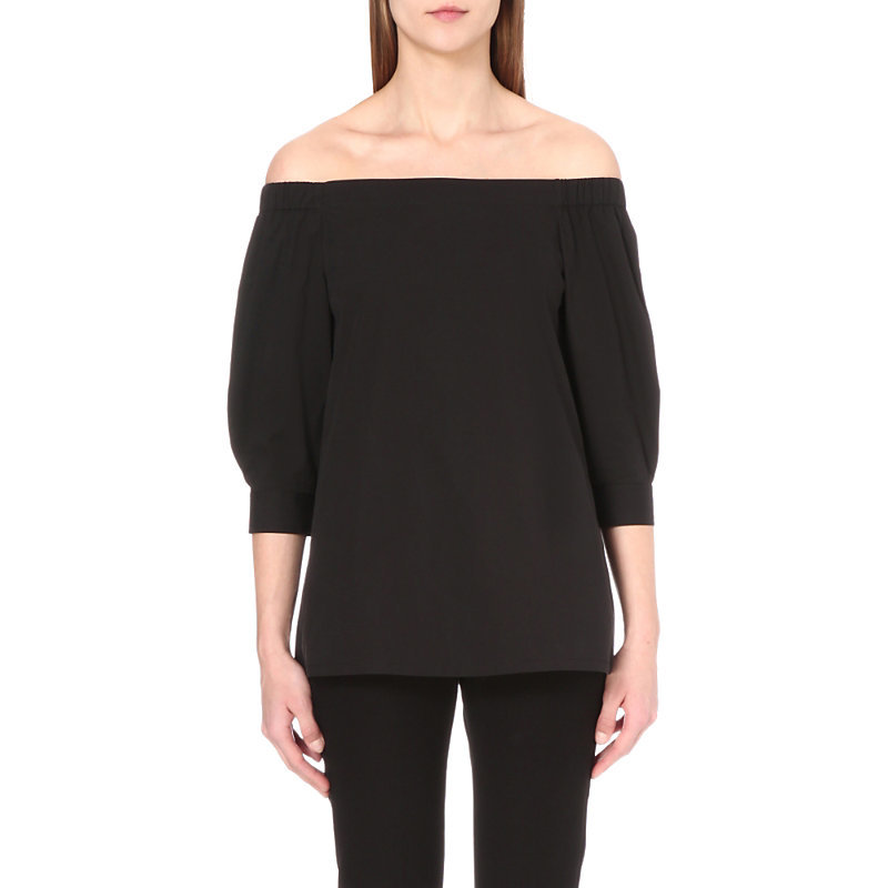 Joscla Off The Shoulder Stretch Cotton Top, Women's, Size: Xs, Black - neckline: off the shoulder; pattern: plain; predominant colour: black; occasions: casual; length: standard; style: top; fibres: cotton - stretch; fit: body skimming; sleeve length: 3/4 length; sleeve style: standard; texture group: crepes; pattern type: fabric; season: s/s 2016; wardrobe: highlight