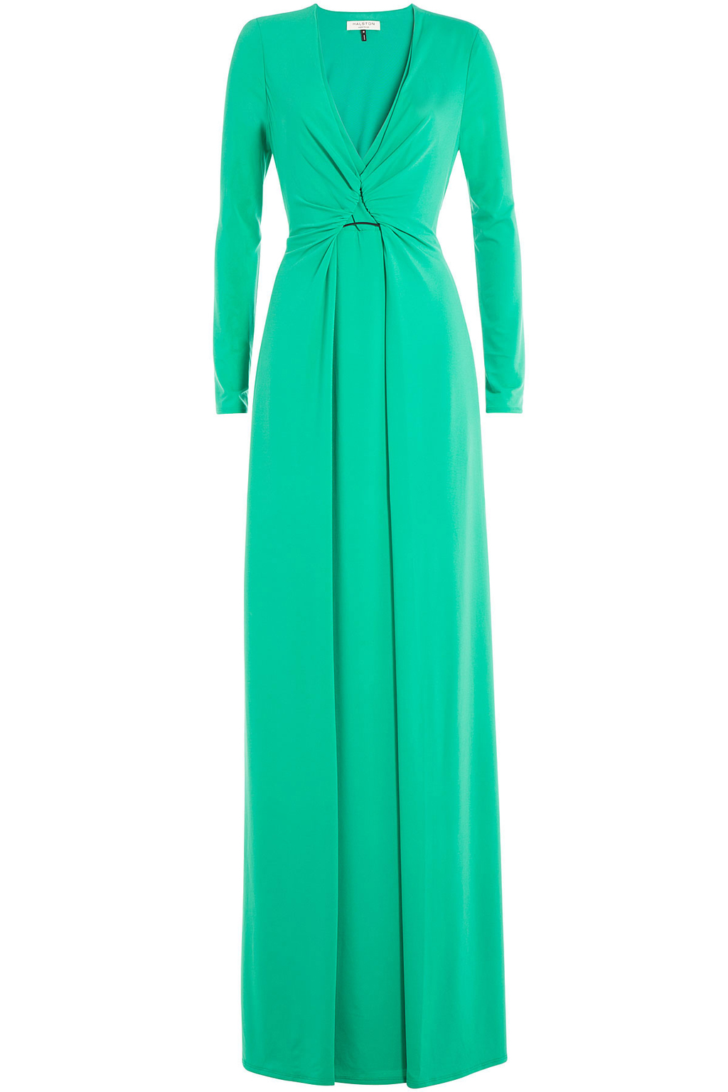 Floor Length Gown - style: ballgown; neckline: low v-neck; pattern: plain; predominant colour: mint green; length: floor length; fit: fitted at waist & bust; fibres: polyester/polyamide - stretch; occasions: occasion; sleeve length: long sleeve; sleeve style: standard; pattern type: fabric; pattern size: standard; texture group: jersey - stretchy/drapey; season: s/s 2016; wardrobe: event