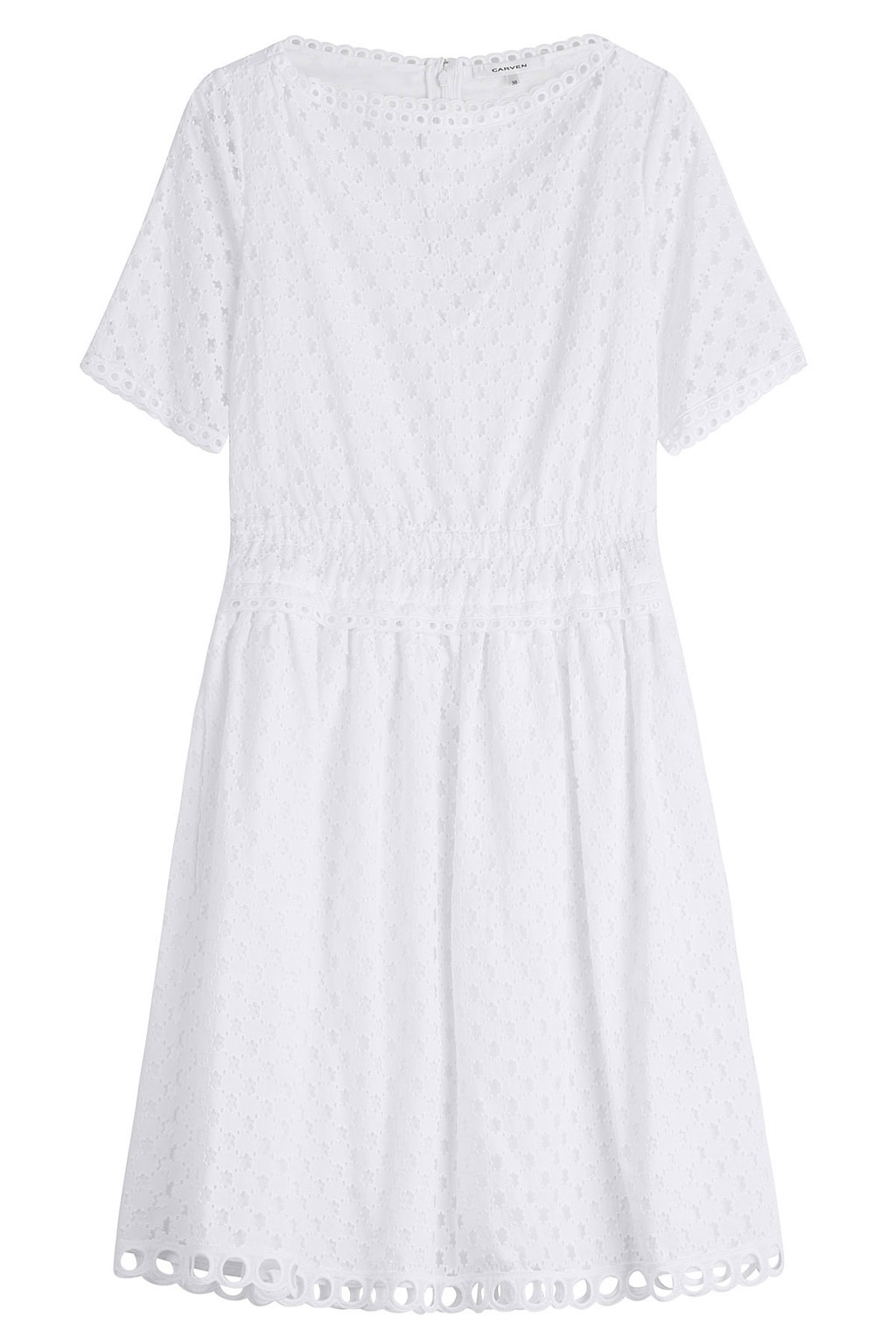 Cotton Eyelet Dress - style: shift; neckline: v-neck; predominant colour: white; occasions: casual; length: just above the knee; fit: body skimming; fibres: cotton - 100%; sleeve length: short sleeve; sleeve style: standard; pattern type: fabric; pattern: patterned/print; texture group: broiderie anglais; season: s/s 2016; wardrobe: highlight