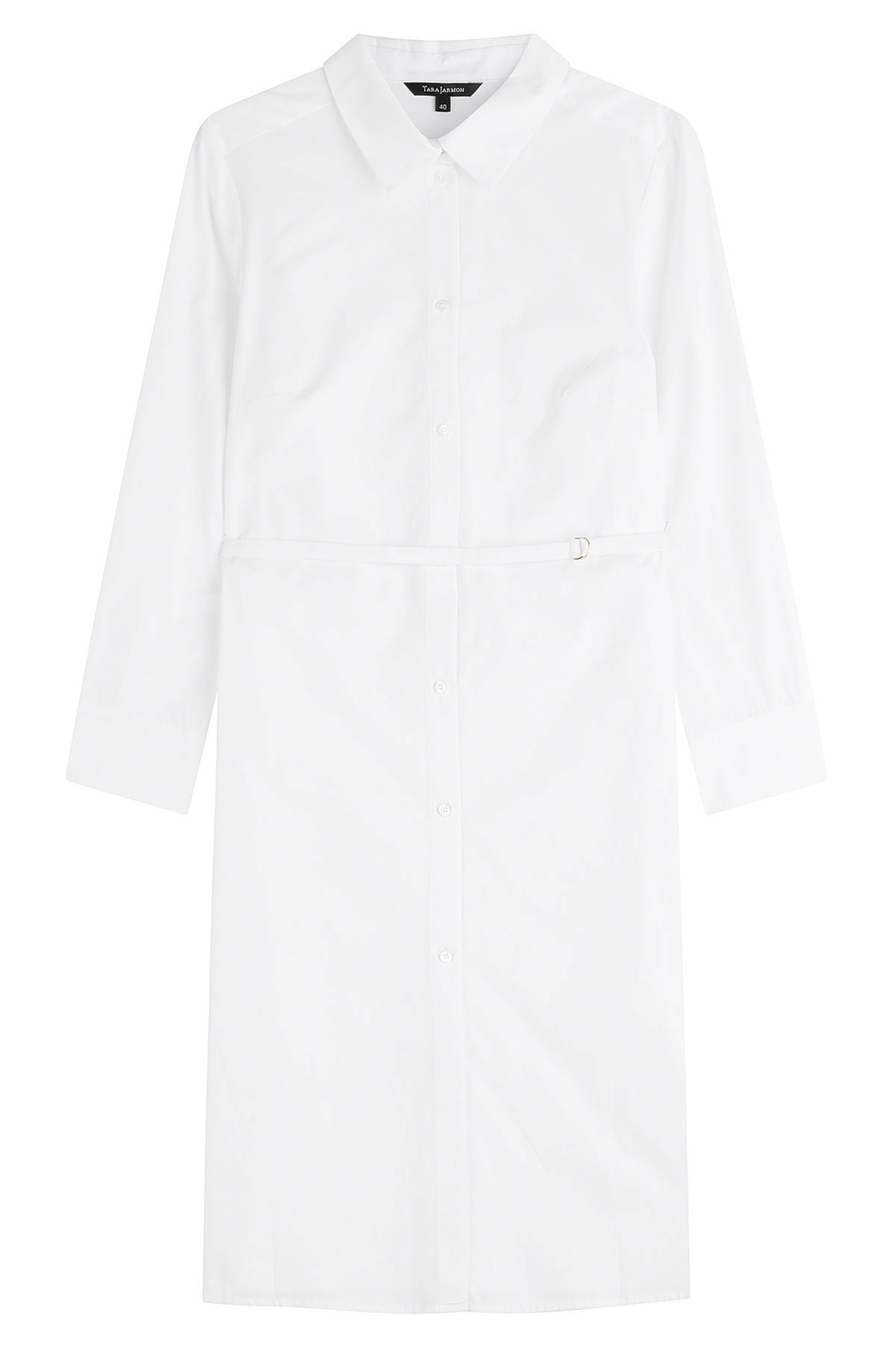 Cotton Shirt Dress White - style: shirt; neckline: shirt collar/peter pan/zip with opening; pattern: plain; waist detail: belted waist/tie at waist/drawstring; predominant colour: white; occasions: casual; length: just above the knee; fit: body skimming; fibres: cotton - 100%; sleeve length: long sleeve; sleeve style: standard; texture group: cotton feel fabrics; pattern type: fabric; season: s/s 2016