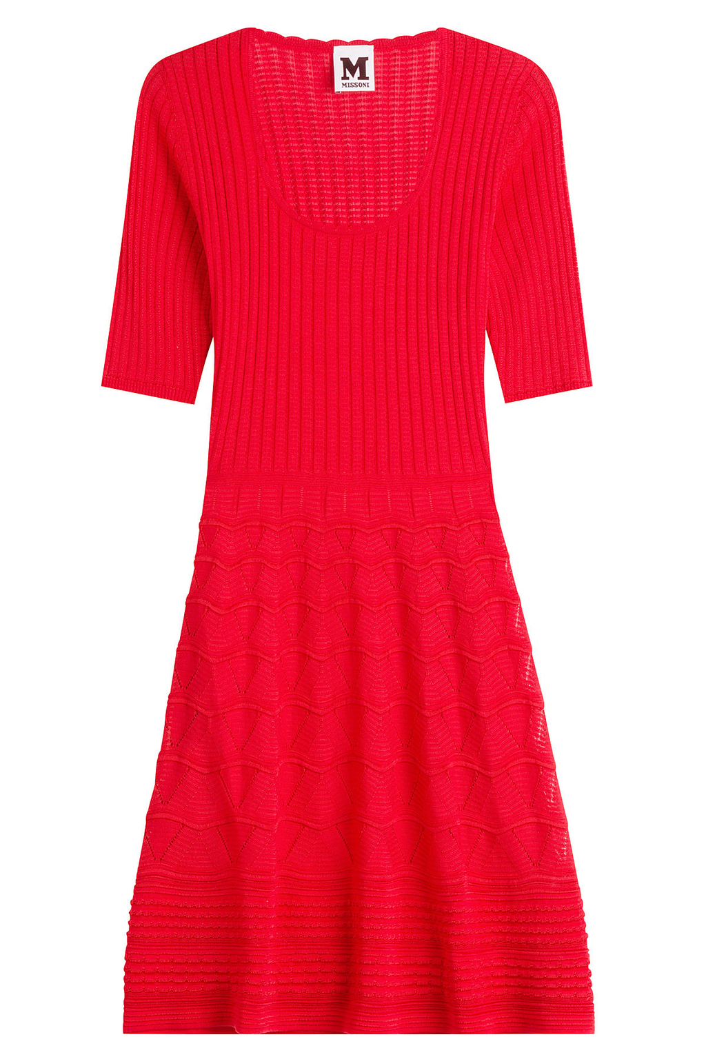 Cotton Blend Knit Dress - pattern: plain; predominant colour: true red; occasions: casual; length: on the knee; fit: fitted at waist & bust; style: fit & flare; neckline: scoop; fibres: cotton - mix; sleeve length: half sleeve; sleeve style: standard; pattern type: fabric; texture group: jersey - stretchy/drapey; season: s/s 2016; wardrobe: highlight
