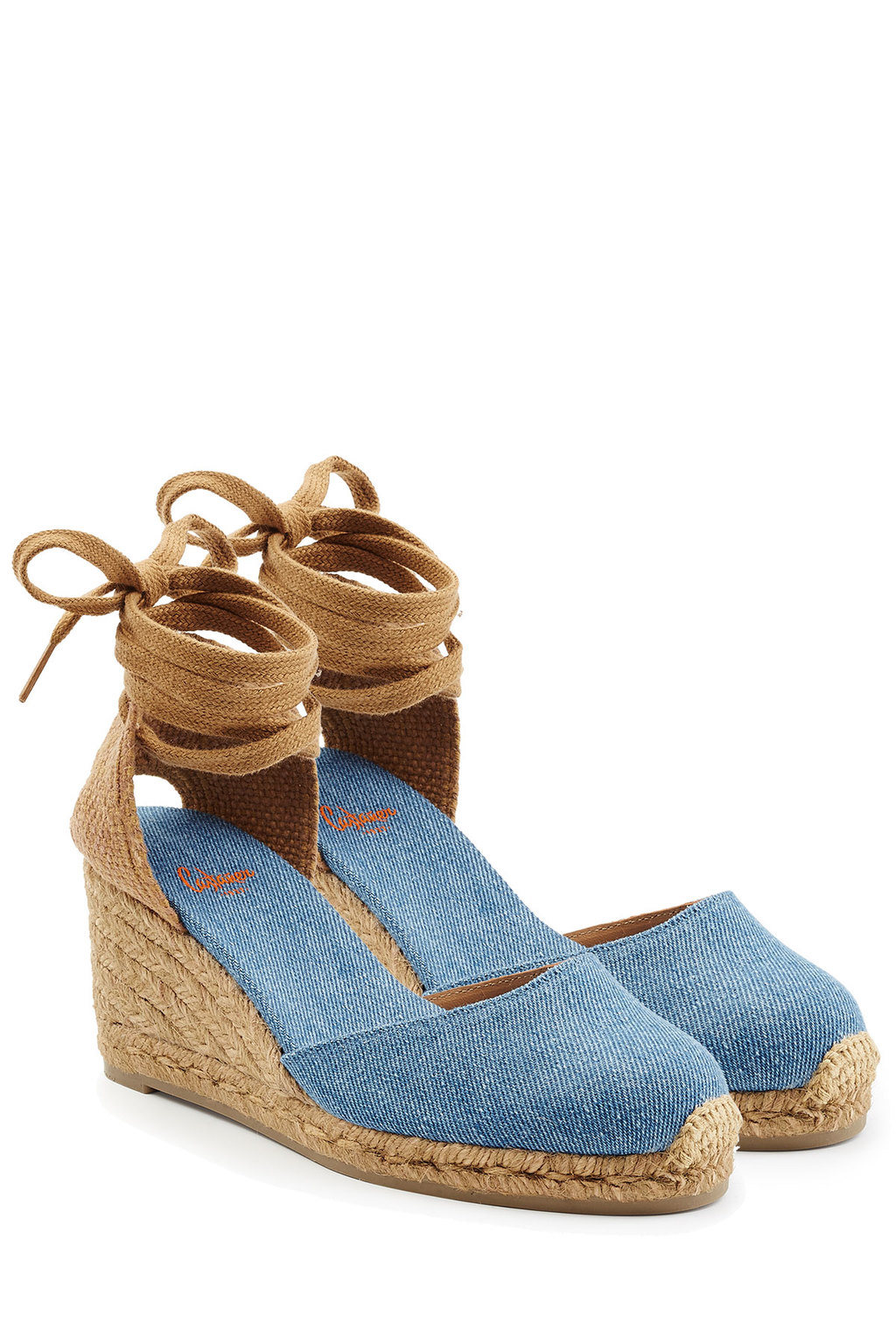 Espadrille Wedges Blue - predominant colour: denim; secondary colour: camel; occasions: casual, holiday; material: fabric; heel height: high; ankle detail: ankle tie; heel: wedge; toe: round toe; finish: plain; pattern: colourblock; shoe detail: platform; style: espadrilles; season: s/s 2016; wardrobe: highlight