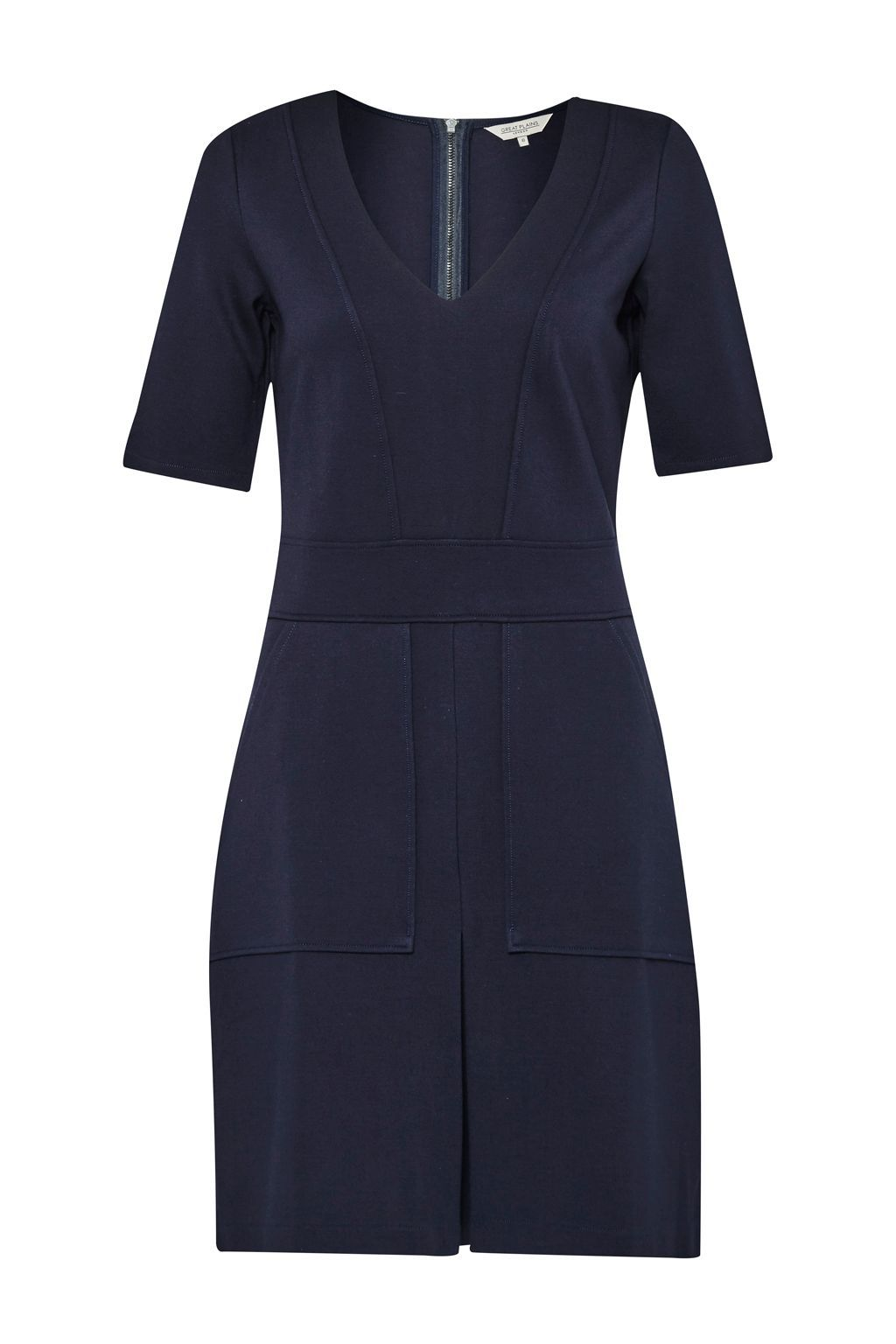 Polly Ponte Utility Dress, Blue - style: shift; neckline: v-neck; fit: tailored/fitted; pattern: plain; predominant colour: navy; occasions: evening; length: just above the knee; fibres: viscose/rayon - stretch; sleeve length: short sleeve; sleeve style: standard; pattern type: fabric; texture group: woven light midweight; season: s/s 2016; wardrobe: event