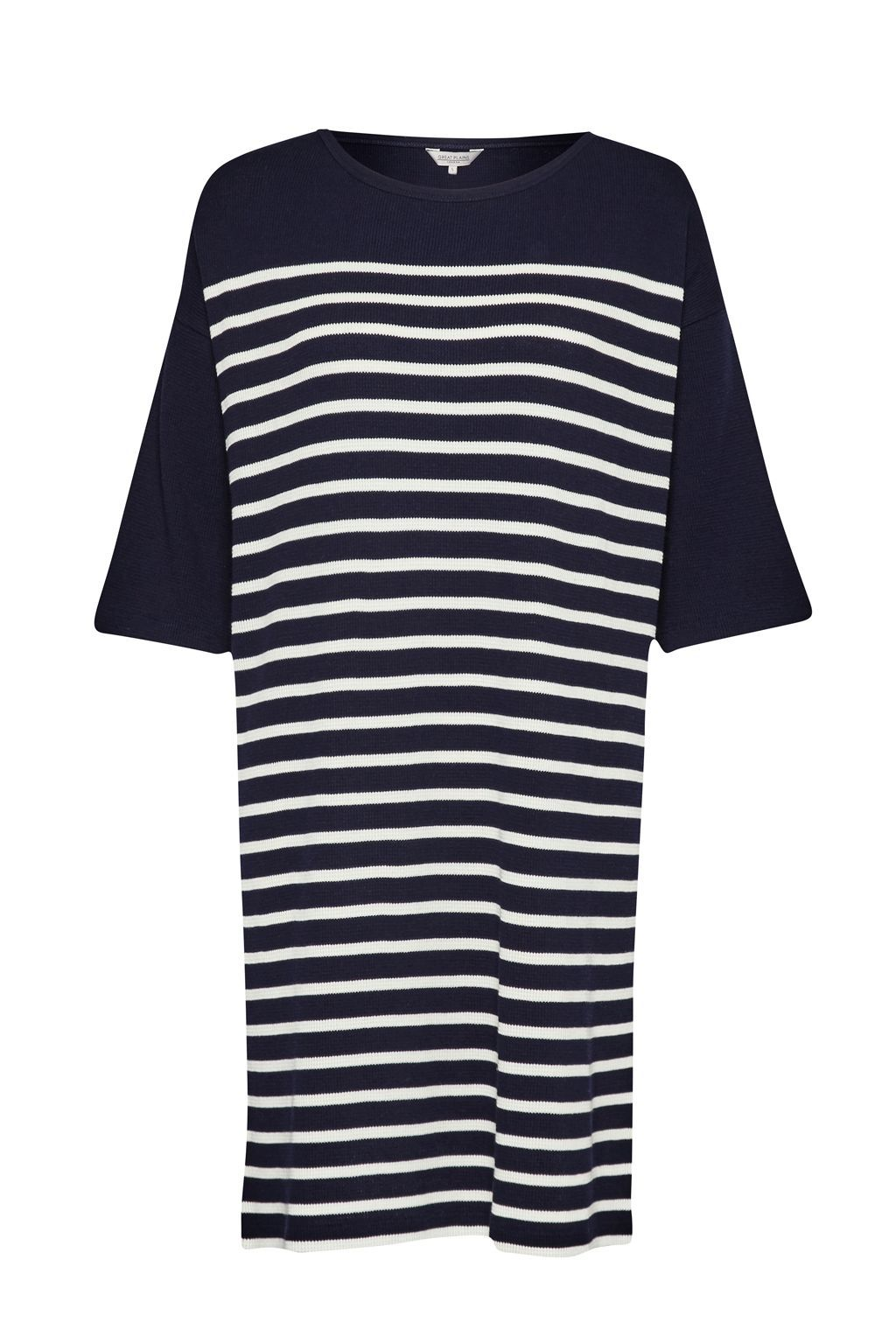 Waffle On Roll Sleeve Dress, Blue - style: t-shirt; fit: loose; pattern: horizontal stripes; secondary colour: white; predominant colour: navy; occasions: casual; length: just above the knee; fibres: cotton - mix; neckline: crew; sleeve length: half sleeve; sleeve style: standard; pattern type: fabric; texture group: jersey - stretchy/drapey; multicoloured: multicoloured; season: s/s 2016; trends: graphic stripes; wardrobe: basic