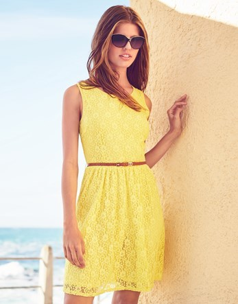 Lace Wrap Back Skater Dress - neckline: round neck; sleeve style: sleeveless; waist detail: belted waist/tie at waist/drawstring; predominant colour: yellow; occasions: casual, evening; length: just above the knee; fit: fitted at waist & bust; style: fit & flare; fibres: polyester/polyamide - stretch; sleeve length: sleeveless; texture group: lace; pattern type: fabric; pattern: patterned/print; season: s/s 2016; wardrobe: highlight