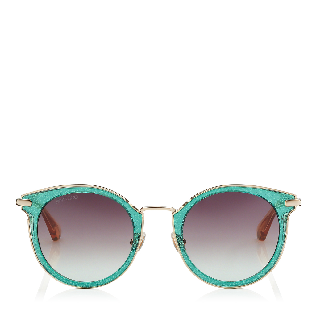 Raffy Green Glitter And Metal Round Framed Sunglasses - predominant colour: mint green; occasions: casual, holiday; style: round; size: large; material: plastic/rubber; pattern: plain; finish: plain; season: s/s 2016; wardrobe: highlight
