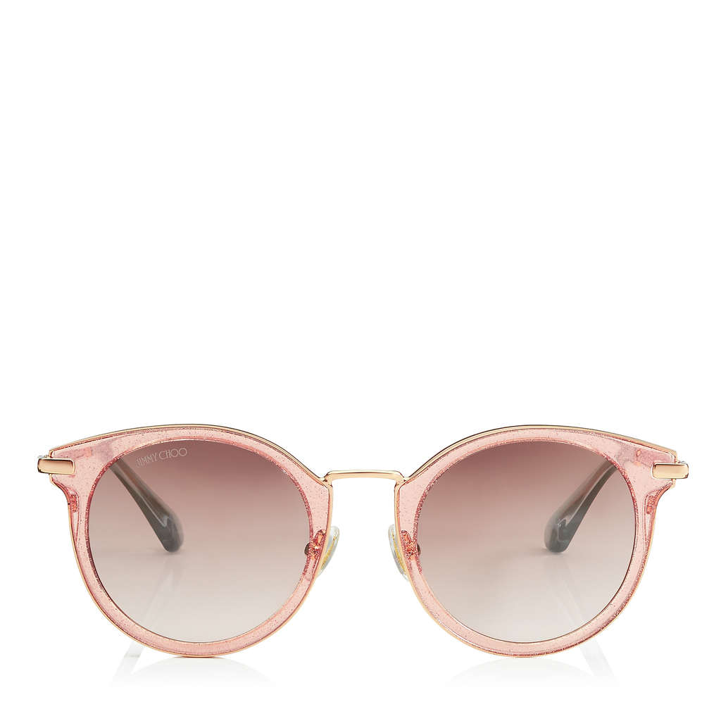 Raffy Red Glitter And Metal Round Framed Sunglasses - predominant colour: blush; occasions: casual, holiday; style: round; size: standard; material: plastic/rubber; pattern: plain; finish: plain; season: s/s 2016; wardrobe: basic