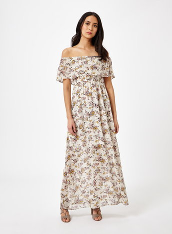 Womens Printed Bardot Maxi Dress, Assorted - neckline: off the shoulder; style: maxi dress; length: ankle length; predominant colour: white; secondary colour: taupe; occasions: casual; fit: body skimming; fibres: viscose/rayon - 100%; sleeve length: short sleeve; sleeve style: standard; pattern type: fabric; pattern: florals; texture group: jersey - stretchy/drapey; multicoloured: multicoloured; season: s/s 2016; wardrobe: highlight