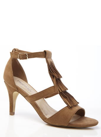 Womens Fringe Heeled Sandal, Tan, Tan - predominant colour: tan; occasions: evening; material: suede; heel height: high; ankle detail: ankle strap; heel: stiletto; toe: open toe/peeptoe; style: strappy; finish: plain; pattern: plain; embellishment: fringing; season: s/s 2016; wardrobe: event