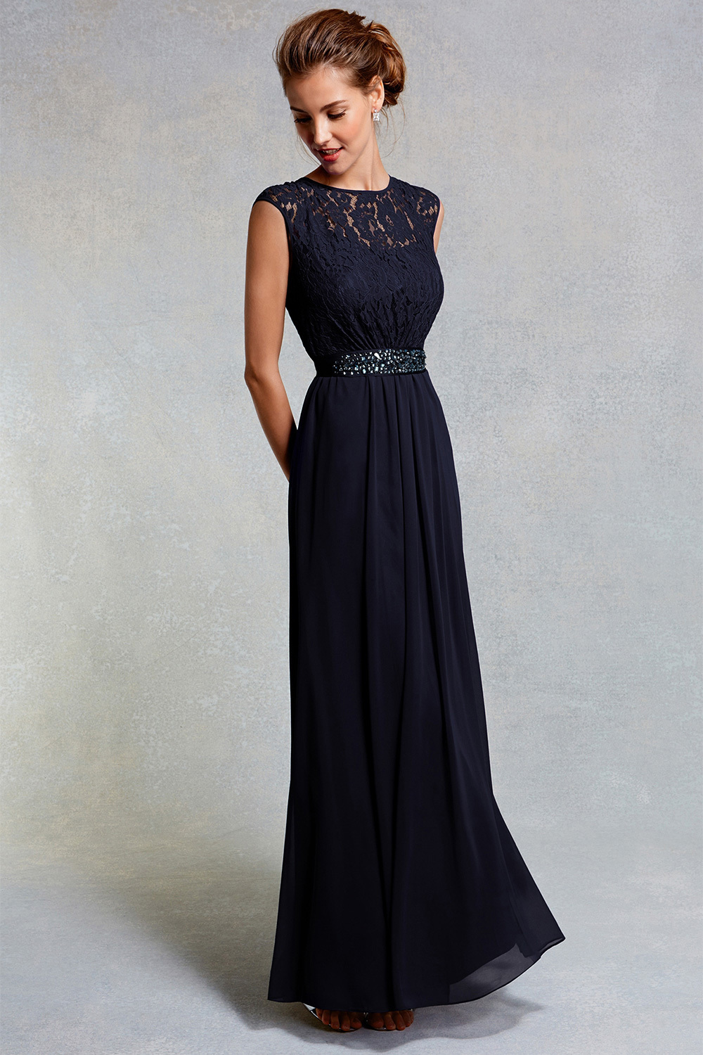 Lori Lee Lace Maxi Dress Sl - sleeve style: capped; pattern: plain; style: maxi dress; bust detail: sheer at bust; waist detail: belted waist/tie at waist/drawstring; predominant colour: navy; occasions: evening; length: floor length; fit: body skimming; fibres: polyester/polyamide - 100%; neckline: crew; sleeve length: short sleeve; texture group: lace; pattern type: fabric; embellishment: lace; season: s/s 2016