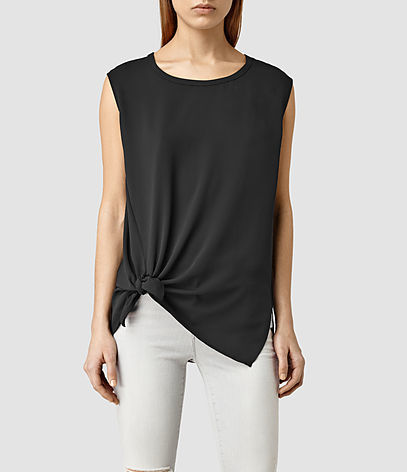 Heny Top - neckline: round neck; pattern: plain; sleeve style: sleeveless; predominant colour: black; occasions: casual; length: standard; style: top; fibres: polyester/polyamide - 100%; fit: straight cut; hip detail: adds bulk at the hips; sleeve length: sleeveless; pattern type: fabric; texture group: jersey - stretchy/drapey; season: s/s 2016; wardrobe: basic