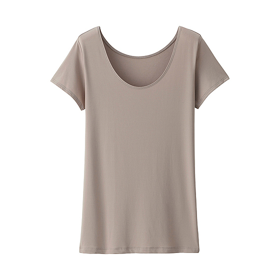 Women Ai Rism Scoop Neck Short Sleeve T Shirt Brown - pattern: plain; style: t-shirt; predominant colour: taupe; occasions: casual, creative work; length: standard; neckline: scoop; fit: straight cut; sleeve length: short sleeve; sleeve style: standard; pattern type: fabric; texture group: other - light to midweight; fibres: nylon - stretch; season: s/s 2016; wardrobe: basic