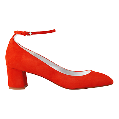 Ness Block Heeled Mary Jane Shoes - predominant colour: bright orange; occasions: occasion, creative work; material: suede; heel height: mid; ankle detail: ankle strap; heel: block; toe: round toe; style: mary janes; finish: plain; pattern: plain; season: s/s 2016