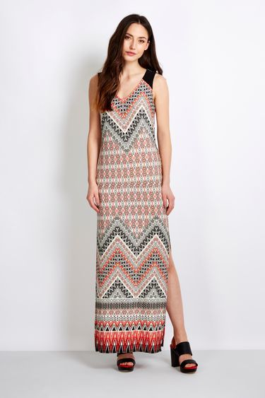 Orange Tribal Maxi Dress - neckline: v-neck; sleeve style: sleeveless; style: maxi dress; length: ankle length; predominant colour: bright orange; secondary colour: mid grey; occasions: evening, holiday; fit: body skimming; fibres: polyester/polyamide - stretch; sleeve length: sleeveless; pattern type: fabric; pattern: patterned/print; texture group: jersey - stretchy/drapey; multicoloured: multicoloured; season: s/s 2016; wardrobe: highlight