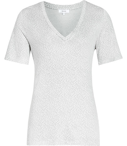 Zeta Animal Pattern T Shirt - neckline: v-neck; pattern: plain; style: t-shirt; predominant colour: light grey; occasions: casual; length: standard; fit: body skimming; sleeve length: short sleeve; sleeve style: standard; pattern type: fabric; pattern size: light/subtle; texture group: jersey - stretchy/drapey; fibres: viscose/rayon - mix; season: s/s 2016; wardrobe: basic