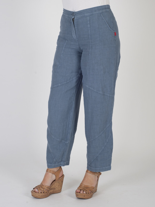 Blue Linen Seamed Trouser - pattern: plain; waist: mid/regular rise; predominant colour: denim; occasions: casual; length: ankle length; fibres: linen - 100%; texture group: linen; fit: straight leg; pattern type: fabric; style: standard; pattern size: standard (bottom); season: s/s 2016