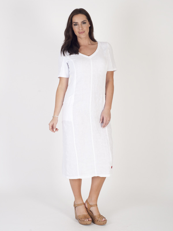 White Linen And Ribbed Knit Mixed Dress - style: shift; length: calf length; neckline: v-neck; pattern: plain; predominant colour: white; occasions: casual; fit: soft a-line; fibres: linen - mix; sleeve length: short sleeve; sleeve style: standard; texture group: cotton feel fabrics; pattern type: fabric; pattern size: standard; season: s/s 2016; wardrobe: basic