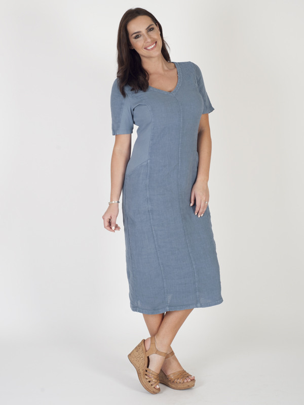 Blue Linen And Ribbed Knit Mixed Dress - style: shift; length: below the knee; neckline: v-neck; pattern: plain; predominant colour: denim; occasions: casual; fit: body skimming; fibres: linen - 100%; sleeve length: short sleeve; sleeve style: standard; texture group: knits/crochet; pattern type: fabric; season: s/s 2016; wardrobe: highlight
