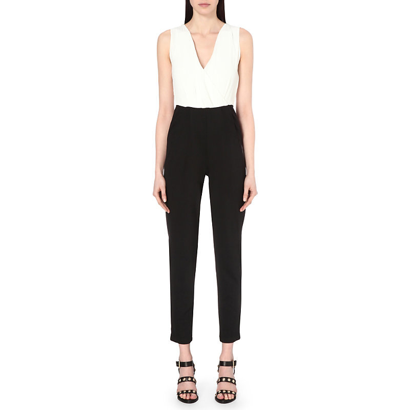 Spring Wrap Front Chiffon Jumpsuit, Women's, Summer White/Black - length: standard; neckline: low v-neck; fit: tailored/fitted; sleeve style: sleeveless; predominant colour: white; secondary colour: black; occasions: evening, occasion; sleeve length: sleeveless; trends: monochrome; texture group: sheer fabrics/chiffon/organza etc.; style: jumpsuit; pattern type: fabric; pattern: colourblock; fibres: viscose/rayon - mix; multicoloured: multicoloured; season: s/s 2016
