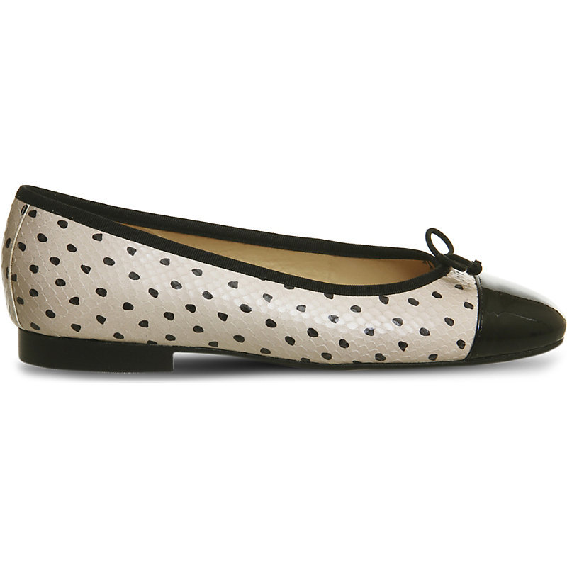 Rosa High Snake Embossed Leather Pumps, Women's, Taupe Leather - secondary colour: ivory/cream; predominant colour: black; occasions: casual, creative work; material: leather; heel height: flat; toe: round toe; style: ballerinas / pumps; finish: plain; pattern: polka dot; embellishment: bow; season: s/s 2016; wardrobe: highlight