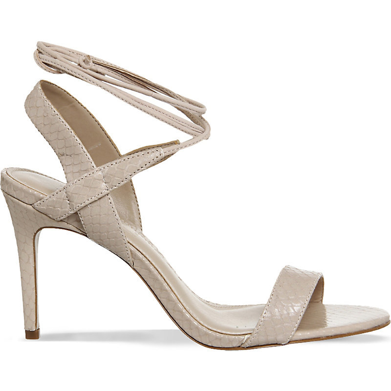 Midnight Leather Heeled Sandals, Women's, Nude Snake Leather - predominant colour: stone; occasions: evening, occasion; material: suede; heel height: high; ankle detail: ankle tie; heel: stiletto; toe: open toe/peeptoe; style: strappy; finish: plain; pattern: plain; season: s/s 2016; wardrobe: event