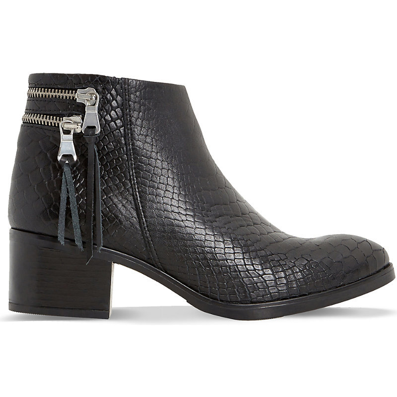 Pipinn Snake Embossed Leather Ankle Boots, Women's, Eur 36 / 3 Uk Women, Black Croc - predominant colour: black; occasions: casual, creative work; material: leather; heel height: mid; embellishment: tassels; heel: block; toe: round toe; boot length: ankle boot; style: standard; finish: plain; pattern: plain; season: s/s 2016; wardrobe: basic
