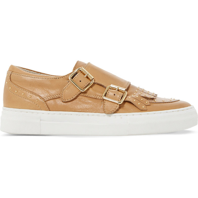 Ervyn Leather Trainers, Women's, Eur 41 / 8 Uk Women, Camel Leather - predominant colour: camel; occasions: casual; material: leather; heel height: flat; embellishment: buckles; toe: round toe; style: trainers; finish: plain; pattern: plain; season: s/s 2016; wardrobe: basic