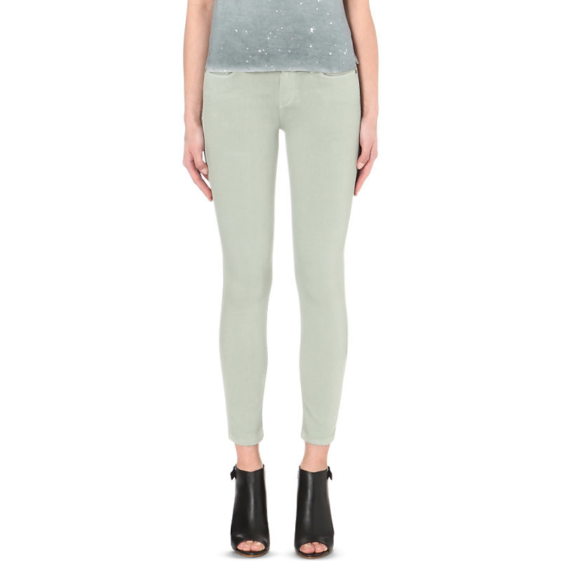 Verdugo Skinny Mid Rise Cropped Jeans, Women's, Lemongrass - style: skinny leg; length: standard; pattern: plain; pocket detail: traditional 5 pocket; waist: mid/regular rise; predominant colour: pistachio; occasions: casual; fibres: cotton - stretch; texture group: denim; pattern type: fabric; season: s/s 2016; wardrobe: highlight