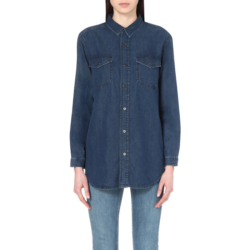 Dori Denim Shirt, Women's, Indigo Enzyme Wash - neckline: shirt collar/peter pan/zip with opening; pattern: plain; length: below the bottom; style: shirt; bust detail: pocket detail at bust; predominant colour: navy; occasions: casual, creative work; fibres: cotton - 100%; fit: loose; sleeve length: long sleeve; sleeve style: standard; texture group: denim; pattern type: fabric; season: s/s 2016