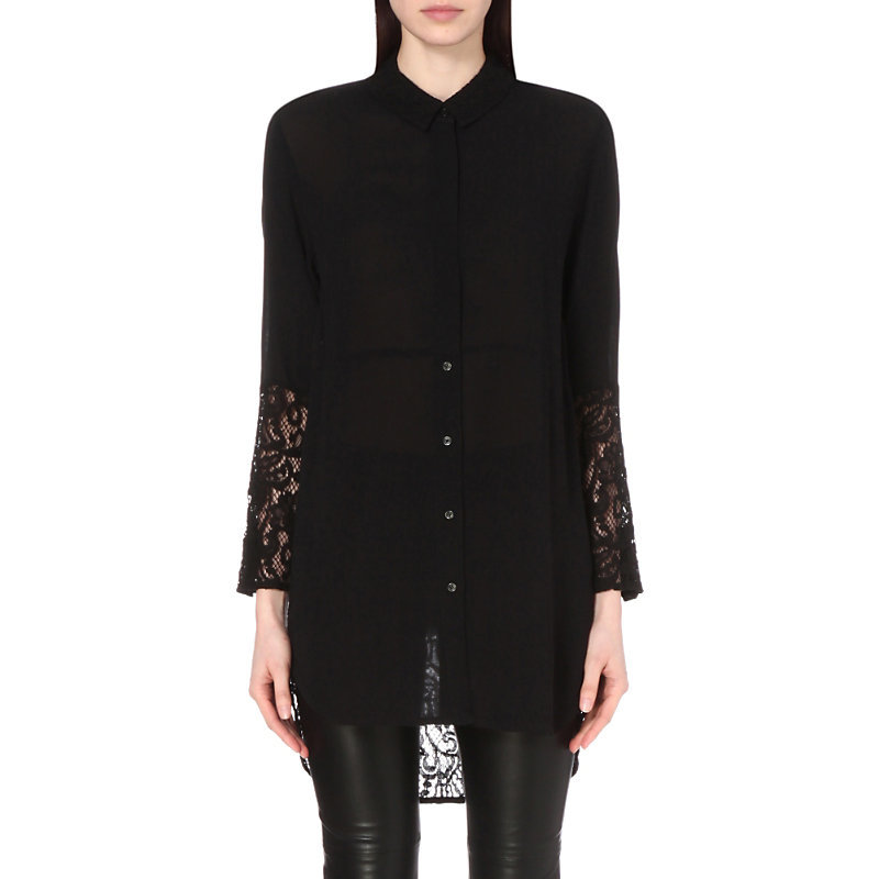 Taza Lace Oversized Shirt, Women's, Black - neckline: shirt collar/peter pan/zip with opening; pattern: plain; style: shirt; predominant colour: black; occasions: casual, creative work; fibres: polyester/polyamide - 100%; fit: loose; length: mid thigh; sleeve length: long sleeve; sleeve style: standard; texture group: sheer fabrics/chiffon/organza etc.; pattern type: fabric; embellishment: lace; season: s/s 2016