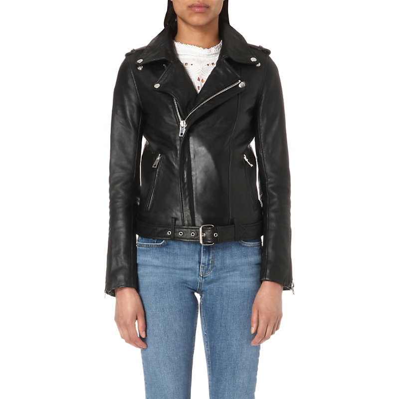 Bocelui Leather Biker Jacket, Women's, Black - pattern: plain; style: biker; collar: asymmetric biker; secondary colour: silver; predominant colour: black; occasions: casual, creative work; length: standard; fit: tailored/fitted; fibres: leather - 100%; waist detail: belted waist/tie at waist/drawstring; shoulder detail: subtle shoulder detail; sleeve length: long sleeve; sleeve style: standard; texture group: leather; collar break: high/illusion of break when open; pattern type: fabric; season: s/s 2016; wardrobe: highlight