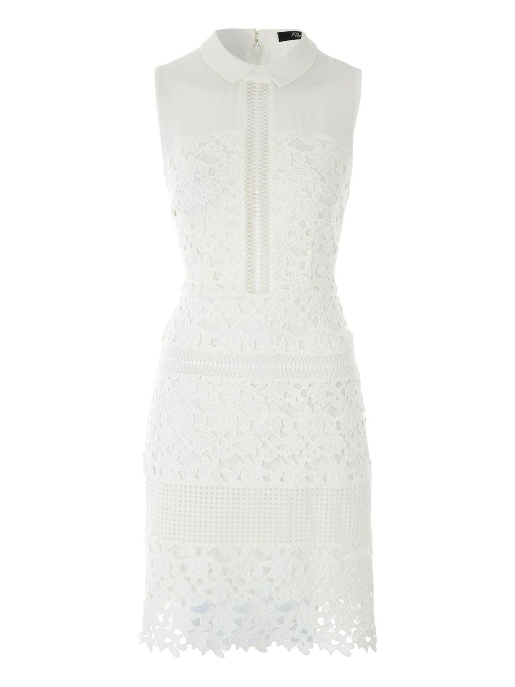 White Lace Panels Sleeveless Dress, Ivory - style: shift; fit: tailored/fitted; sleeve style: sleeveless; predominant colour: ivory/cream; occasions: evening; length: just above the knee; neckline: collarstand; fibres: polyester/polyamide - 100%; sleeve length: sleeveless; pattern type: fabric; pattern size: standard; pattern: patterned/print; texture group: other - light to midweight; embellishment: lace; season: s/s 2016; wardrobe: event