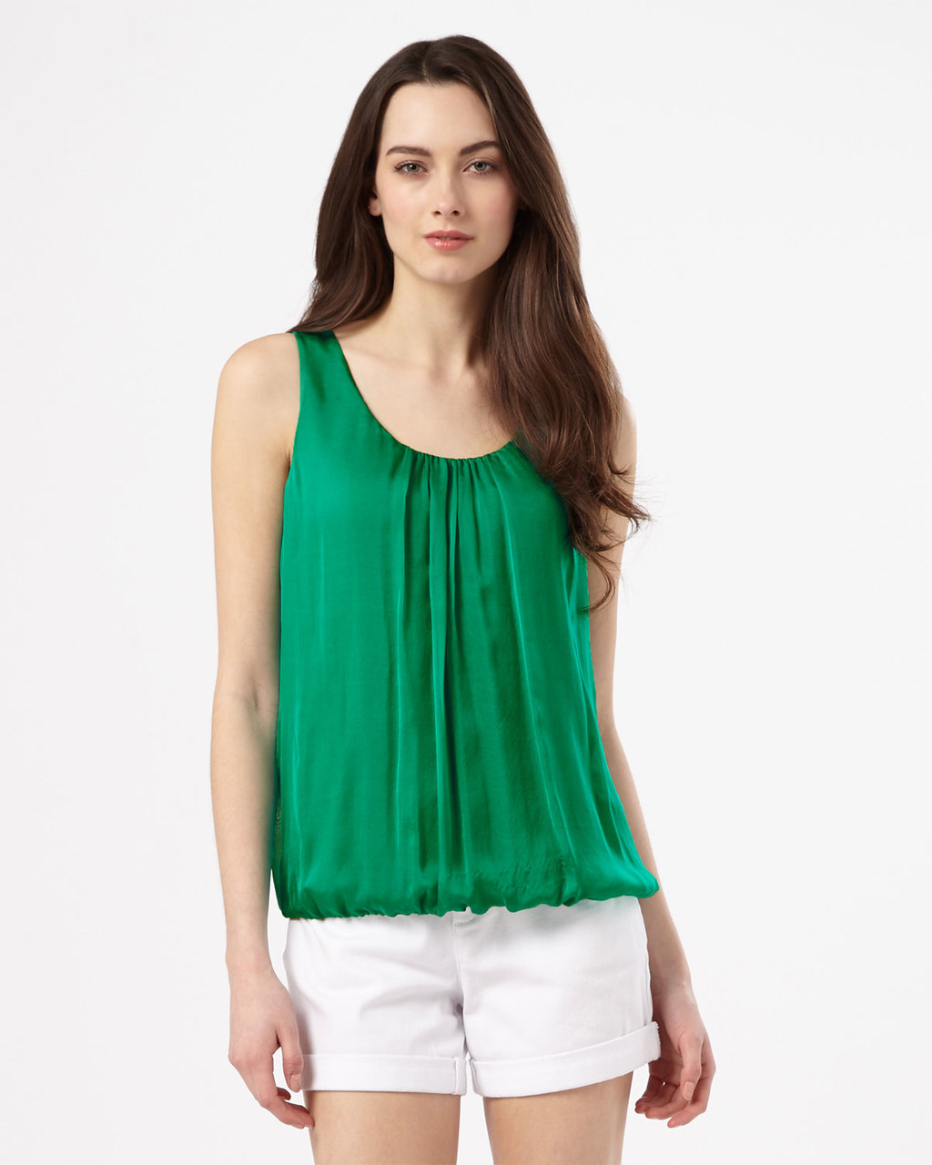 Lua Silk Blouse - sleeve style: standard vest straps/shoulder straps; pattern: plain; style: vest top; predominant colour: emerald green; occasions: casual; length: standard; neckline: scoop; fibres: silk - 100%; fit: straight cut; sleeve length: sleeveless; texture group: silky - light; bust detail: tiers/frills/bulky drapes/pleats; pattern type: fabric; season: s/s 2016