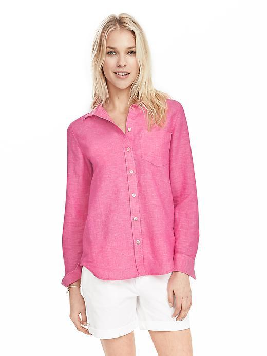 Dillon Fit Linen/Cotton Shirt Pink - neckline: shirt collar/peter pan/zip with opening; pattern: plain; style: shirt; predominant colour: pink; occasions: casual; length: standard; fibres: linen - mix; fit: body skimming; sleeve length: long sleeve; sleeve style: standard; texture group: cotton feel fabrics; bust detail: bulky details at bust; pattern type: fabric; season: s/s 2016; wardrobe: highlight