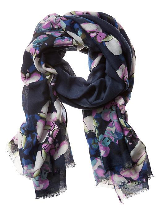 Andrea Scarf Painted Floral - predominant colour: navy; occasions: casual; type of pattern: heavy; style: regular; size: standard; material: fabric; pattern: florals; multicoloured: multicoloured; season: s/s 2016; wardrobe: highlight