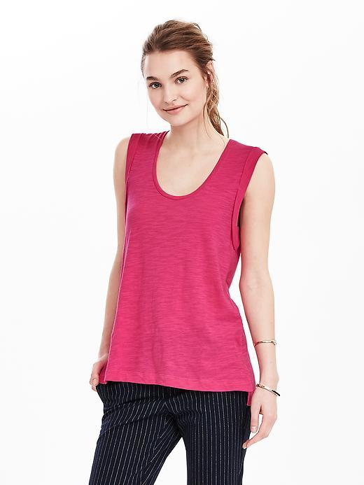 Roll Cuff Cotton Modal Tank Beauty Queen Pink - neckline: round neck; pattern: plain; sleeve style: sleeveless; style: vest top; predominant colour: hot pink; occasions: casual; length: standard; fibres: cotton - 100%; fit: body skimming; sleeve length: sleeveless; pattern type: fabric; texture group: jersey - stretchy/drapey; season: s/s 2016