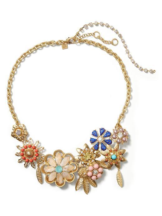 Blooming Bud Focal Necklace Multi - predominant colour: gold; occasions: evening, occasion; length: mid; size: large/oversized; material: chain/metal; finish: metallic; embellishment: jewels/stone; style: bib/statement; season: s/s 2016; wardrobe: event