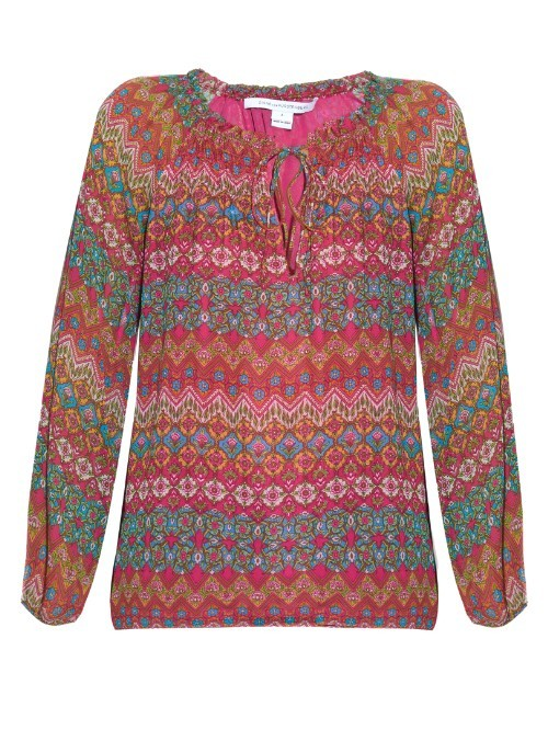 Parry Top - neckline: pussy bow; predominant colour: pink; secondary colour: mint green; occasions: casual; length: standard; style: top; fibres: silk - 100%; fit: body skimming; sleeve length: long sleeve; sleeve style: standard; texture group: sheer fabrics/chiffon/organza etc.; pattern type: fabric; pattern: patterned/print; multicoloured: multicoloured; season: s/s 2016; wardrobe: highlight