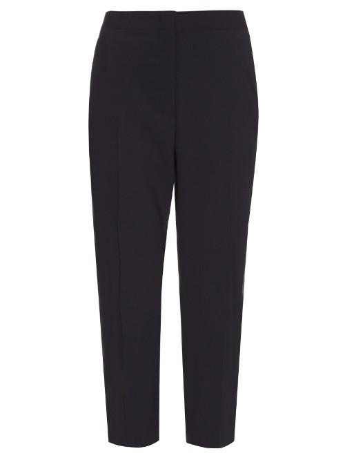 Attila Tailored Leg Cropped Trousers - pattern: plain; style: peg leg; waist: mid/regular rise; predominant colour: navy; length: ankle length; fibres: cotton - mix; texture group: cotton feel fabrics; fit: tapered; pattern type: fabric; occasions: creative work; season: s/s 2016; wardrobe: basic