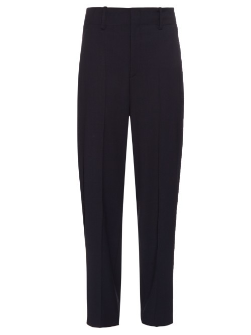 Dallin Trousers - length: standard; pattern: plain; style: peg leg; waist: high rise; predominant colour: navy; fibres: cotton - mix; texture group: cotton feel fabrics; fit: tapered; pattern type: fabric; occasions: creative work; season: s/s 2016; wardrobe: basic